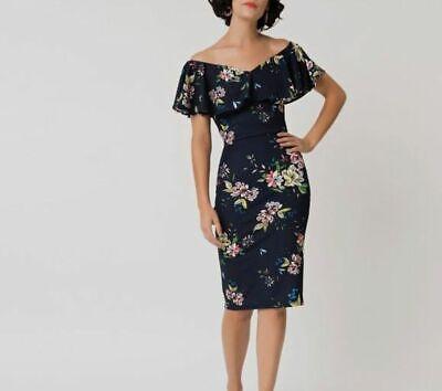 $195 Unique Vintage Women's Blue Sophia Wiggle Print Draped Sheath Dress Size S