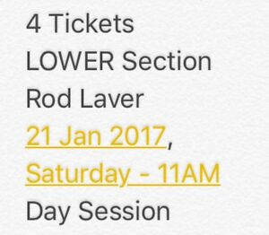 Australian Open Tennis Tickets (4) Canberra City North Canberra Preview