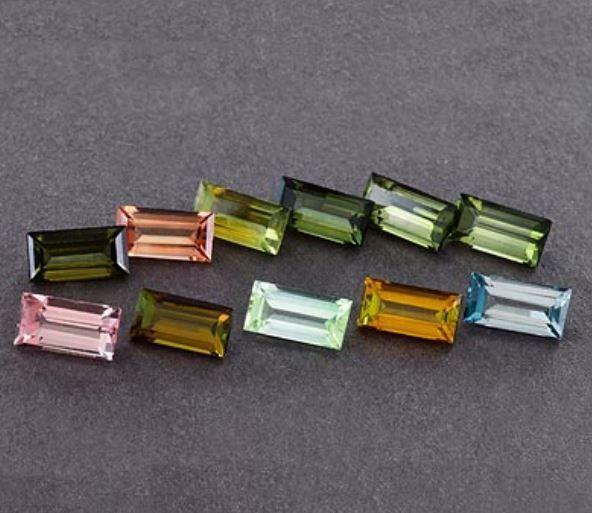 100% Natural 15 Piece Multi Tourmaline 3.15 Cts Baguette Cut Loose Gemstone
