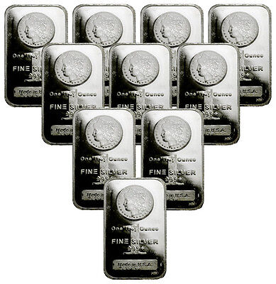 Lot of 10 - Morgan Dollar Design Bar 1 Oz .999 Silver Bars SKU29388