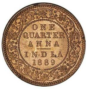 British india 1889 Victoria quarter anna Red BU,