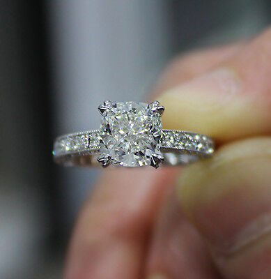 2.10ct. Natural Cushion Cut Pave Milgrain Diamond Engagement Ring GIA Certified 1
