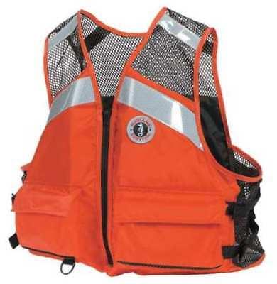 Mustang Industrial Mesh Life Vest w/ Solas Reflective Tape Orange TYpe III