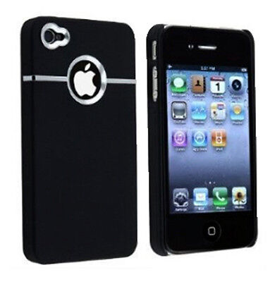 Black Hard Back Cover Case Skin CHROME FOR Apple iPhone 4 4G 4S+Screen Protector on Rummage