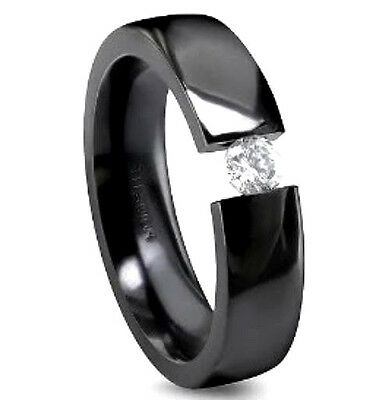 Black Titanium TENSION Highly Polished RING with Round CZ, size 12 in a Gift Box Black Titanium Tension Rings