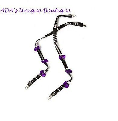 Hello Kitty Suspenders Purple Polka Dot Bows Nerd Halloween Costume Accessories - Nerd Costume Accessories