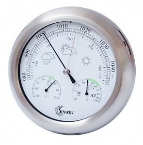 IN - OUTDOOR WEATHER STATION BAROMETER STAINLESS STEEL