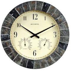Clock Indoor Outdoor Slate Thermometer Hygrometer Stone Patio Deck Garden Decor