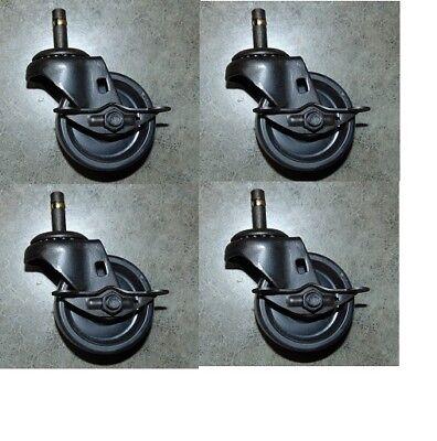 4 Durastar Swivel Caster 3x1-14 Polyolefin Wheel 716 Grip Ring W Brake