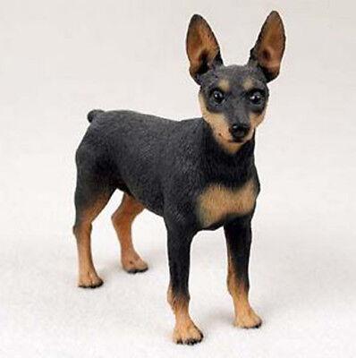 MIN PIN MINIATURE PINSCHER DOG Figurine Statue Hand Painted Resin Gift black tan