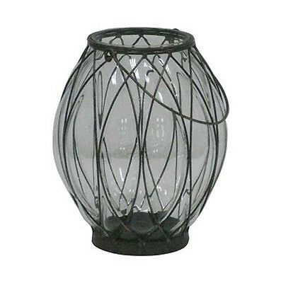 - Iron & Glass Lantern Pillar Candle Holder Outdoor Patio and Garden Decor