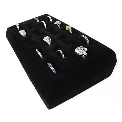 Black Velvet Slotted 18 Ring Display Pad-jewelry Tray 18 Slots