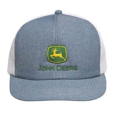 JOHN DEERE *DENIM & WHITE MESH BACK* Traditional Flatbill HAT CAP *BRAND NEW*