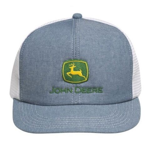 JOHN DEERE *DENIM & WHITE MESH BACK* Traditional Flatbill HAT CAP *BRAND NEW*