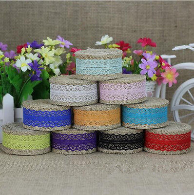 Natural Jute Burlap Rustic Ribbon Hessian Lace Trim Wedding Sewing Accessories
