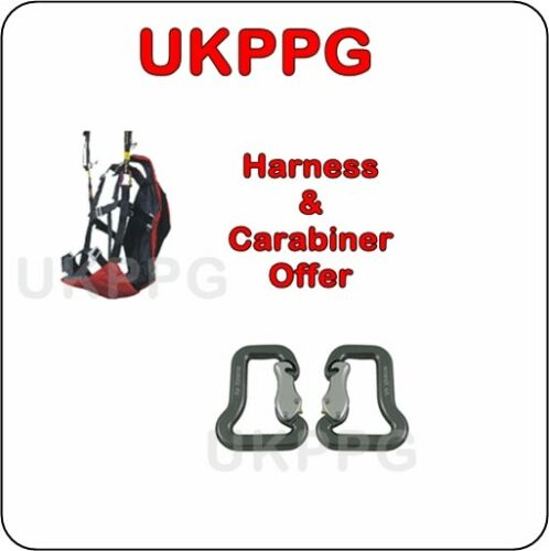 Ground Handling Training Paragliding Paraglider Tandem Harness & 2x Carabiners