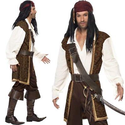 Herren hoher See Karibik Piratenkostüm Jack Outfit NEU von Smiffys