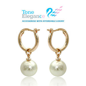 18k gold GF solid hoop dangle stud pearl wedding earrings bridal jewellery
