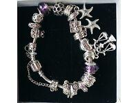 Silver and Purple Charm Bracelet