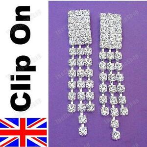 CLIP ON small CRYSTAL RHINESTONE sparkly EARRINGS diamante chandelier NO-PIERCE