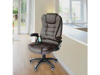 Homcom Massage Office Computer Chair with Heat - Brown