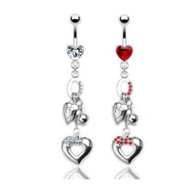 HEART CHARMS BELLY NAVEL RING CZ GEMS DANGLE CHAIN BUTTON PIERCING JEWELRY B44 Charm Dangle Gem Belly Ring