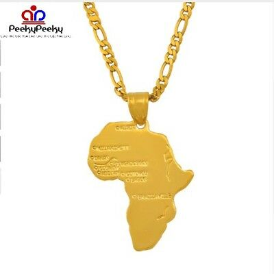 18K Gold Plated African Map Pride Unity Power Charm Pendant Necklace Chain NEW