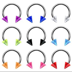 Pair-2-Stainless-Steel-Earring-Nipple-Septum-Ring-UV-Cone-Spiked-Colors-14-16ga
