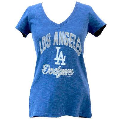 La Dodgers Short Sleeve Shirt - Los Angeles Dodgers 47 Brand Women's LA Short Sleeve Blue V-Neck Scrum T-Shirt
