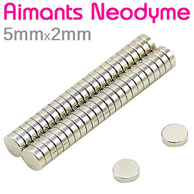 Lot Petit Aimant Frigo Neodyme Neodium Disque Rond Fort Strong Magnet 5mm x 2mm