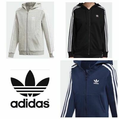 Adidas Men's Trefoil  Three Stripe Fleece Zip Hoodie Sweatshirt