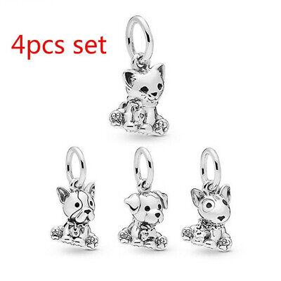 4pcs 925 Silver Cat Dog European Charm Pendant Beads Fit Necklace Bracelet Hot —