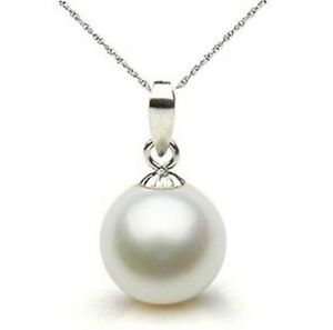 Super rare white 12mm sea shell pearl pendant necklace