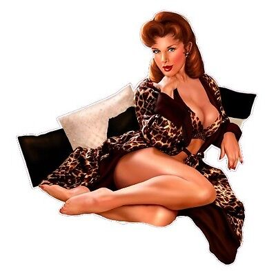 Red Head with Leopard Outfit Pin Up Girl Decal 6