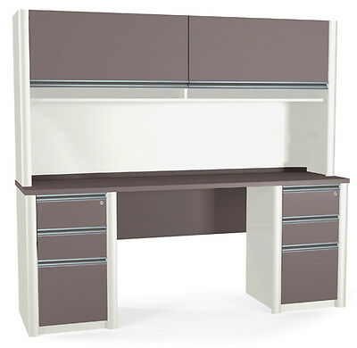 Bestar Connexion Credenza Office Desk W Hutch Pedestals In Sandstone Slate