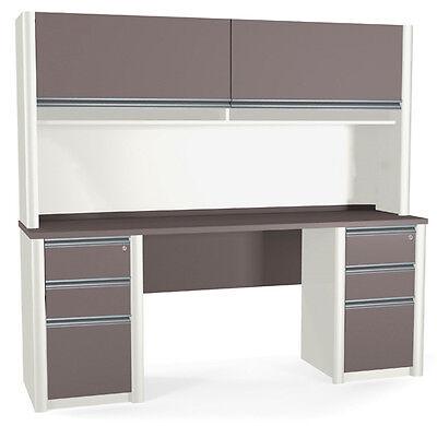 Bestar Connexion Credenza Office Desk W Hutch Pedestals In Sandstone Slate