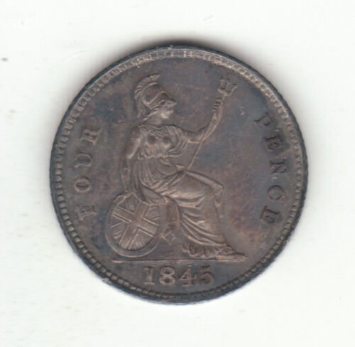 1845 Great Britain Queen Victoria Silver Four Pence Groat.  AU.