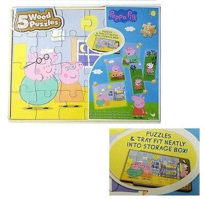 PEPPA PIG 5 Wood Puzzles Storage Box Tray Kid Educational Learn Jigsaw Puzzle - Jigsaw Pig