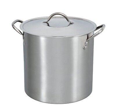 Stainless Steel Stockpot 12-Quart Metal Lid Stovetop Large Pot Pasta Soups Stew