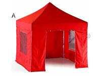 Brand new heavy duty red gazebo with windows