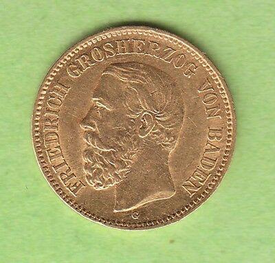 GOLD Baden 5 Mark 1877 in vz hübsch selten nswleipzig