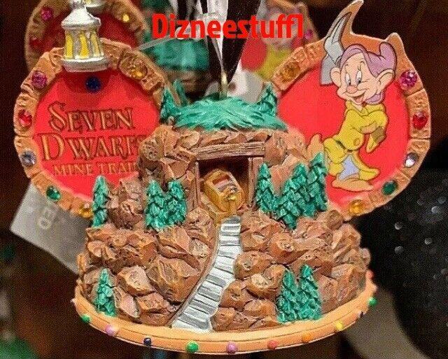Disney Seven Dwarfs Mine Train Mickey Ear Hat Christmas Ornament NWT