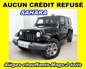 2012 Jeep WRANGLER UNLIMITED SAHARA 4X4 2 TOITS MAGS *SIÈGES CHA