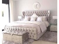 Silver/grey crushed velvet double bed