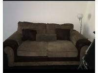 Beautiful Brown Sofa Suite with Matching Arm Chair Love Seat