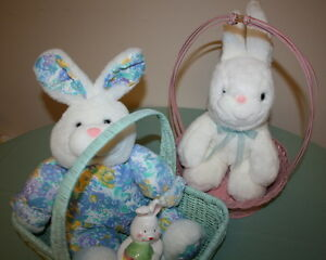 2 Large Beautiful Easter Bunnies in a Basket $5.00
