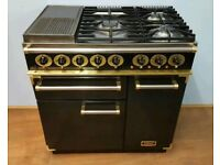 FALCON 90CM RANGE COOKER IN BLACK AND BRASS