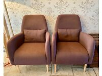 Pair of Habitat Daborn/Antoine Purple Fabric Midcentury Style Armchairs