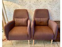 Pair of Habitat Daborn/Antoine Purple Fabric Midcentury Style Armchairs