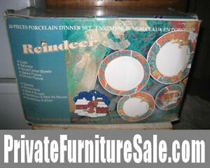 "Brand new in Box 20 PC Porcelain Dinner Set ""Reindeer"""